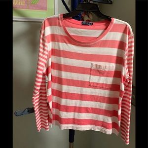Polo Pink & White Striped Long Sleeved Tee #156